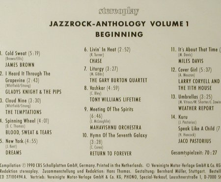 V.A.Jazzrock Anthology Volume 1: Beginning,14 Tr.,FS-New, CBS/Stereoplay(27100-94 A), A, 1990 - CD - 93404 - 10,00 Euro