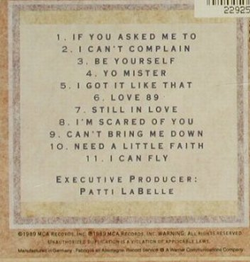 La Belle,Patti: Be Yourself, MCA(256 392-2), D, 1989 - CD - 94510 - 5,00 Euro