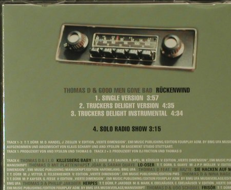 Thomas D: Rückenwind*3, Four Music(865248 2), D, 1997 - CD5inch - 95802 - 4,00 Euro