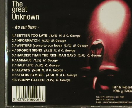 The Great Unknown: It's Out There, 10 Tr., Infinity Rec.(IN03W), , 1998 - CD - 96395 - 12,50 Euro