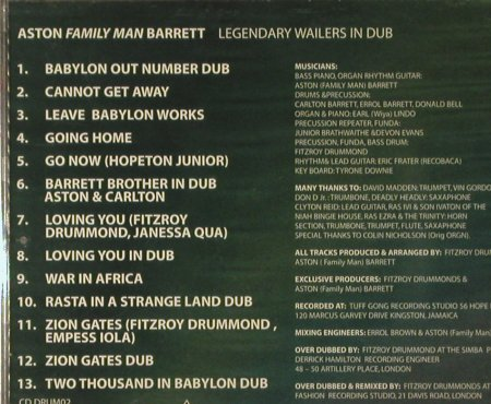 Barrett,Aston (Family Man): Legendary Wailers in Dub, FS-New, Drummonds & Barrett(DRUM 02), UK, 2003 - CD - 93395 - 10,00 Euro