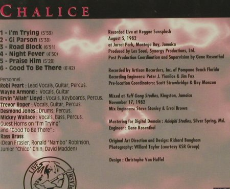 Chalice: Live At Reggae Sunsplash(83),FS-new, Night & Day(NDCD 004), D, 1994 - CD - 94574 - 10,00 Euro