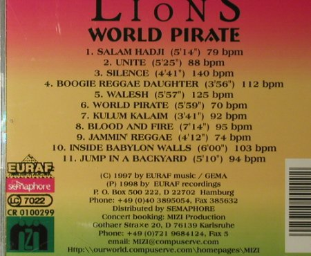 Lions,The: World Pirate, EURAF Music(CR 0100299), D, 1999 - CD - 96121 - 7,50 Euro
