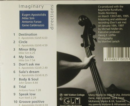 Apostolidis Quartet,Eugen: Imaginary Directions, Edition Collage(EC503-2), D, 1997 - CD - 59725 - 10,00 Euro