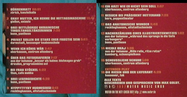 Goldt,Max: Schöne,Greatest Leselive Oldies, Motor(), D, 1997 - CD - 92891 - 10,00 Euro