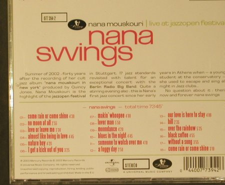 Mouskouri,Nana: Nana Swings, Mercury(077 394-2), EU, 2003 - CD - 99226 - 10,00 Euro