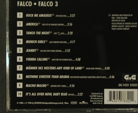 Falco: Falco 3 (85), GiG Records(), D, 1996 - CD - 99227 - 7,50 Euro