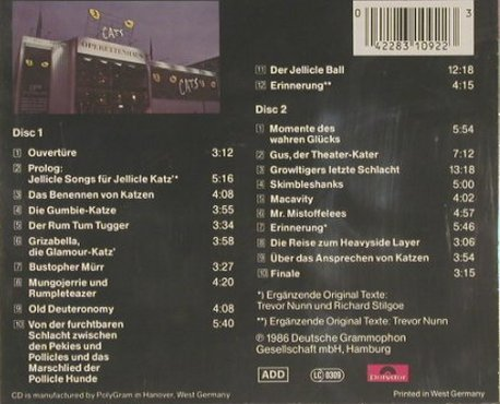 Cats: Live-Hamburger Operettenh., Polyd.(), D, 86 - 2CD - 53166 - 10,00 Euro