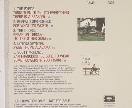 Forrest Gump: 5Tr.Sampler from the Soundtr.,Digi, Sony(), Promo, 94 - CD5inch - 53310 - 5,00 Euro