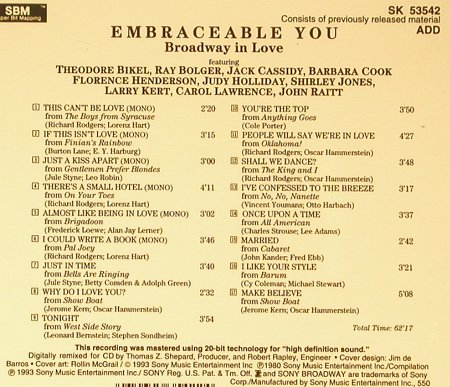Embraceable You: Broadway in Love, Sony(SK 53542), , 1993 - CD - 53717 - 7,50 Euro