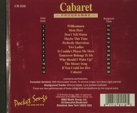 Cabaret: You Sing The Hits Of-Karaoke, Pockett Songs(), US, 1994 - 2CD - 53949 - 10,00 Euro