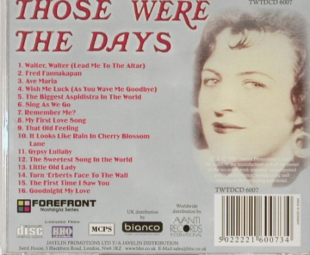 Fields,Grace: Those  were the days, Forefront(), , 01 - CD - 57604 - 7,50 Euro
