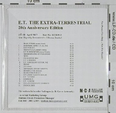 E.T.The Extra-Terrestial: 20th Anniv.Ed., 21Tr. Promo, MCA(), , 02 - CD - 60459 - 5,00 Euro