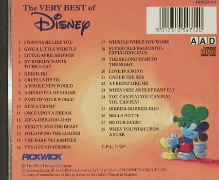V.A.Very Best of Disney Vol.1: 28 orign. Soundtrack rec., Pickwick(DISCD 471), UK, 1993 - CD - 91253 - 10,00 Euro
