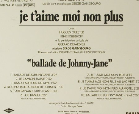 Je t'aime Moi Non Plus: Serge Gainsbourg '76, Digi, Philips(558 774-2), F, 1998 - CD - 96454 - 20,00 Euro