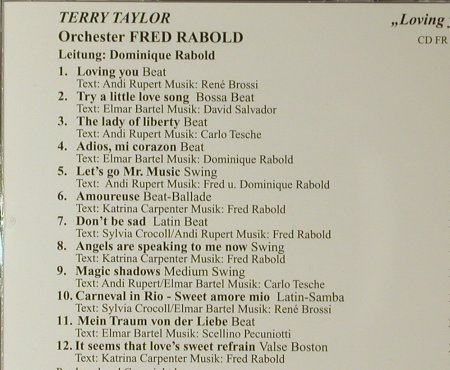Rabold,Fred - Orch. - Terry Taylor: Loving You, Fred Rabold(CD FR 6100), D,  - CD - 83941 - 10,00 Euro