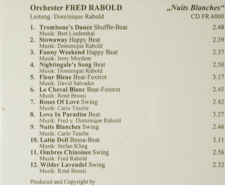 Rabold,Fred - Orchester: Nuits Blances, Fred Rabold(FR 6000), D,  - CD - 83969 - 10,00 Euro