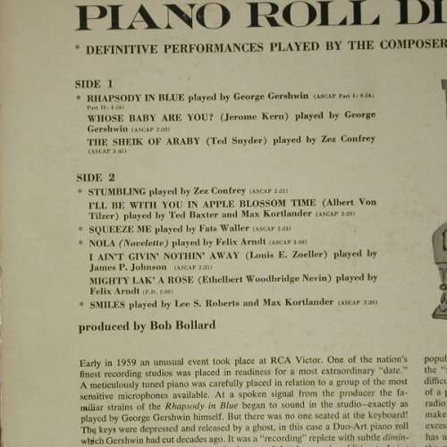 V.A.Piano Roll Discoveries: 10 Tr., vg+/vg+, bad condition, RCA(LPM-2058), US, 1959 - LP - C7183 - 3,00 Euro