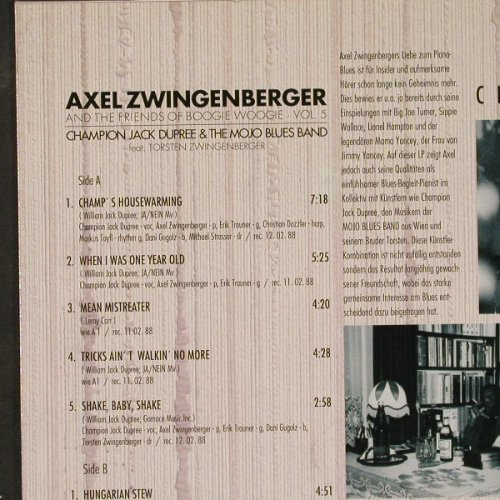 Zwingenberger,Axel & Friends o.Boog: Champ's Housewarming,sign., Vagabond(VRLP 8.88014), D,vg+/m-, 1988 - LP - E5095 - 15,00 Euro