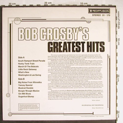 Crosby,Bob: Greatest Hits, Rediffusion(01-179), UK, 1974 - LP - H6709 - 5,50 Euro