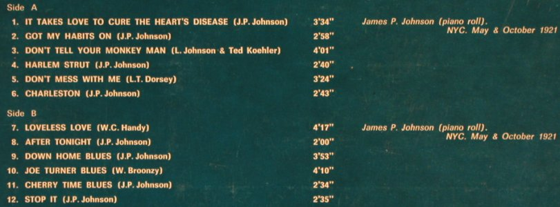 Johnson,James P.: At his Rare of All Rarest PerfVol.1, Kings Of Jazz/Five Star8(KLJ 20008), I,  - LP - H6896 - 5,50 Euro