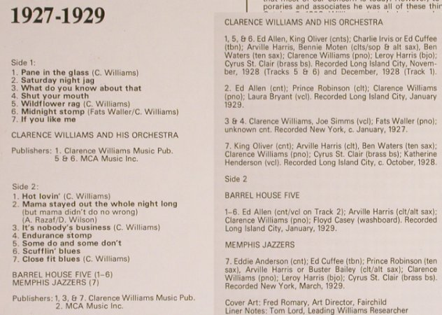 Williams,Clarence  Orchestra: New York Jazz 1927-1929, Biograph(6370 908), UK - Mono,  - LP - H7030 - 6,00 Euro