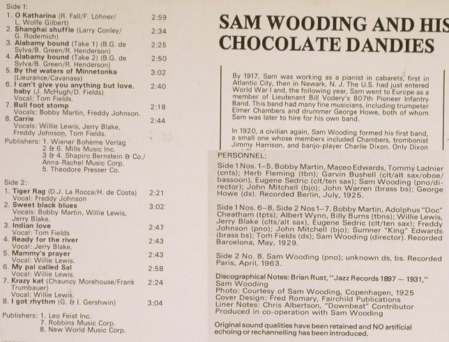 Wooding,Sam  &his Chocolate Dandies: Same, Tommy Ladnier..Albert Wynn, Biograph(6370 905), UK, co,  - LP - H7050 - 7,50 Euro