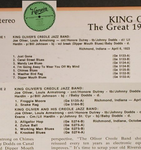King Oliver: The Great 1923 Gennetts, m-/vg+, Herwin(106), US,  - LP - H7441 - 6,00 Euro