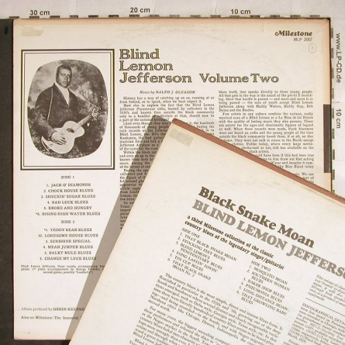 Blind Lemon Jefferson: Vol.2-A second Coll. ....Folk-Blues, Milestone,+(Vol.1 LP)(MLP 2007(2013)), m-/vg+,  - LP*2 - H8581 - 5,50 Euro