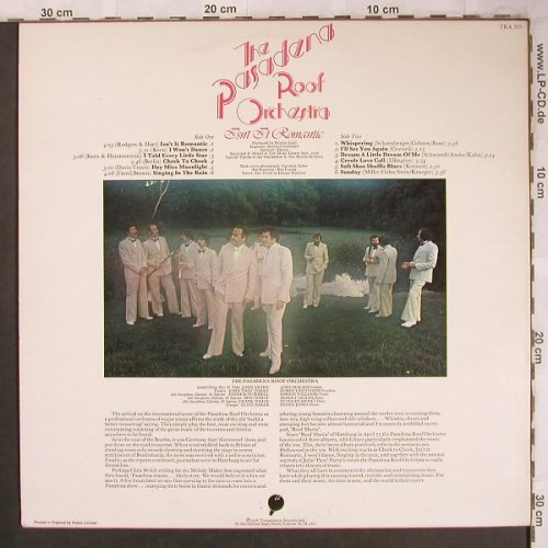 Pasadena Roof Orchestra: Isn't it Romantic, Transatlantic(TRA 335), UK, 1976 - LP - X4643 - 7,50 Euro