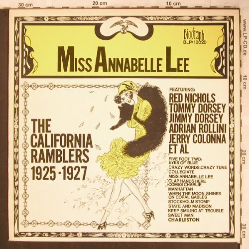 California Ramblers: Miss Annabelle Lee 1925-1927,Vol.1, Biograph(BLP-12020), US,  - LP - X4683 - 9,00 Euro