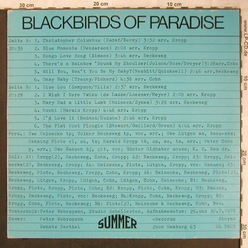 Blackbirds Of Paradise: Same, Summer(SL 7805), D, 1978 - LP - X4734 - 6,00 Euro