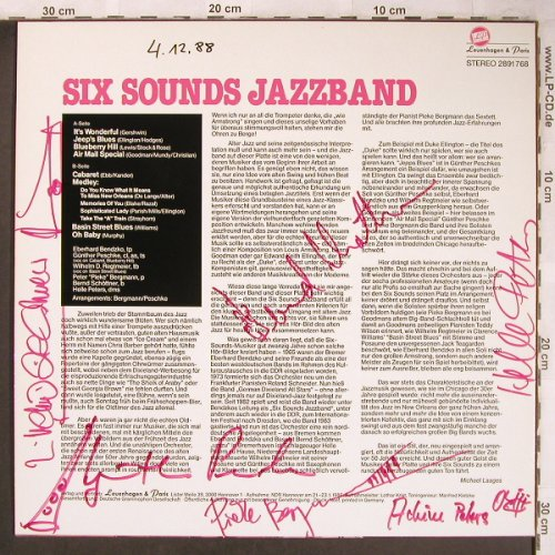 Six Sounds Jazzband: Same, signiert, Levenhagen & Paris(2891 768), D, 1986 - LP - X4856 - 7,50 Euro