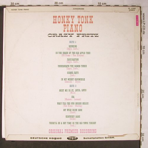 Crazy Fritz: Honky Tonk Piano, POP (Vogue)(ZS 10043), D,  - LP - X5459 - 6,00 Euro