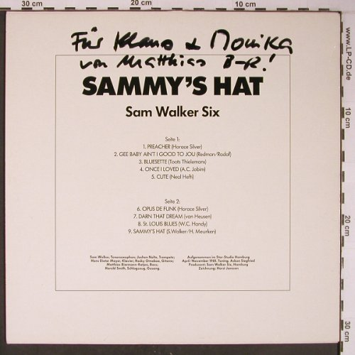 Walker Six,Sam: Sammy's Hat, vg+/m-,priv.press., Sam Walker/Teldec(66.22 568-01-1), D,Widmung,  - LP - X6259 - 10,00 Euro