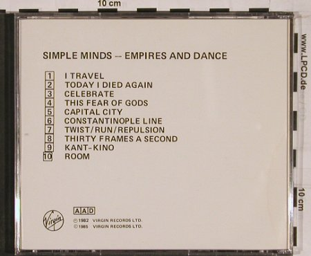 Simple Minds: Empires and Dances'82, Virgin(CDV2247), UK, 1985 - CD - 53581 - 10,00 Euro