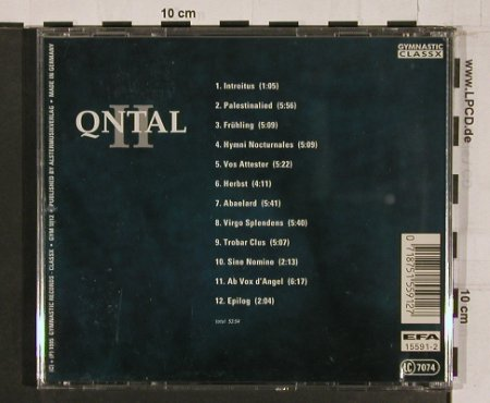 Qntal: II, Gymnastic(gym 5912), D, 1995 - CD - 63582 - 10,00 Euro