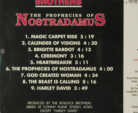 Bollock Brothers: The Prophecies Of Nostradamus(87), Sound Solution(2140011), D, 1995 - CD - 64656 - 5,00 Euro