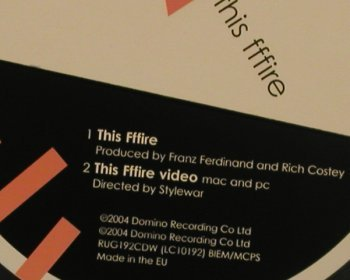 Franz Ferdinand: This Fffire, 1Tr.+video, Digi, Domino(), EU, 2004 - CD5inch - 80510 - 4,00 Euro