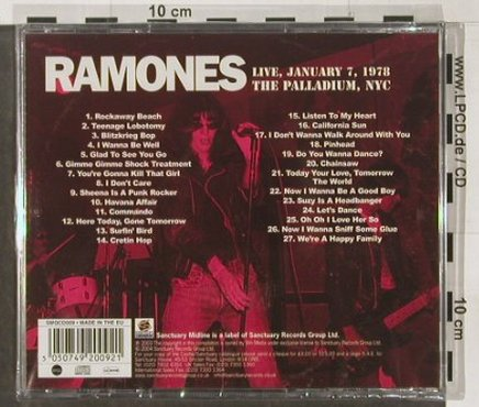Ramones: Live at the Palladium,NYC,1978, Sanctuary(), EU, FS-New, 2004 - CD - 91509 - 12,50 Euro
