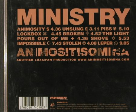 Ministry: Animositisomina, FS-New, Sanctuary(MYNcd010), UK, 2002 - CD - 91561 - 11,50 Euro