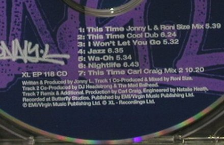 Jonny L: This Time, 7 Tr. EP, XL Rec.(XL EP 118 CD), UK, 1996 - CD5inch - 92915 - 5,00 Euro