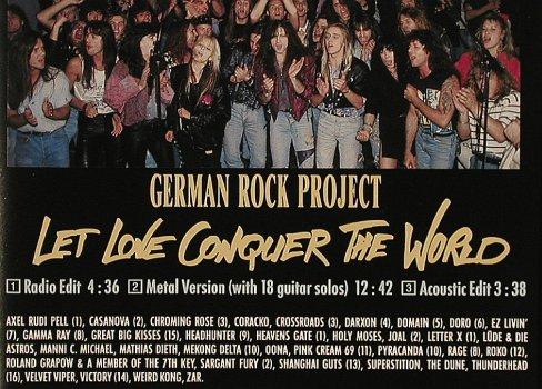 German Rock Project: Let Love Conquer The World*3, Polydor(865 120-7), D, 1991 - CD5inch - 81041 - 7,50 Euro