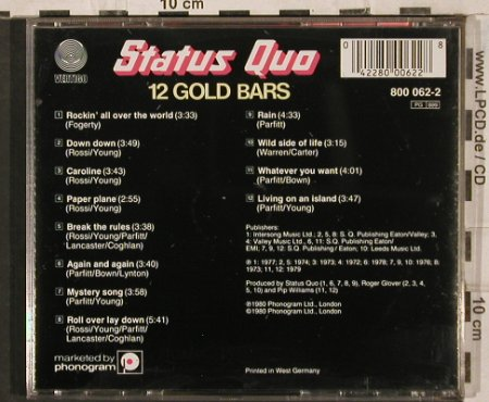Status Quo: 12 Gold Bars, Vertigo(800 062-2), F/D, 1980 - CD - 83648 - 7,50 Euro