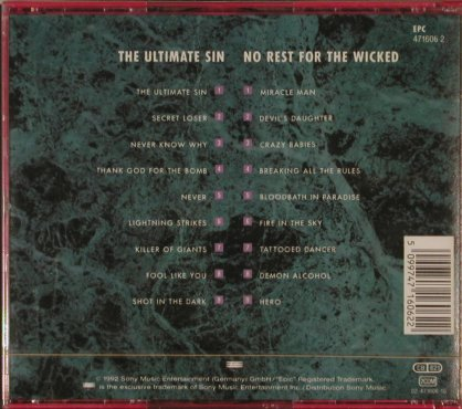 Osbourne,Ozzy: The Ultimate Sin/No Rest f.t.Wicked, Epic,  - 2orig.(471606 2), A,FS-New, 92 - 2CD - 90068 - 14,00 Euro