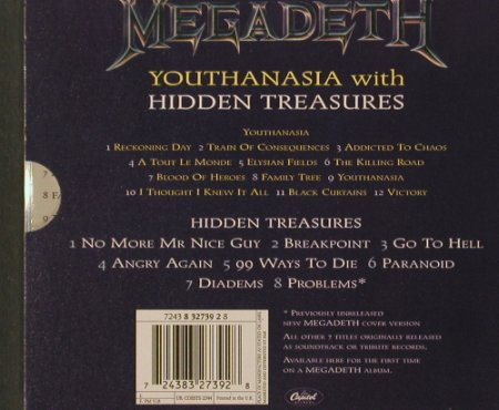 Megadeth: Youthanasia/Hidden Treasures,LimEd., Capitol(), UK, 95 - 2CD - 91904 - 12,50 Euro
