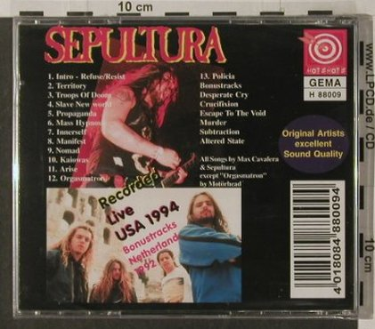 Sepultura: Terretory, Live USA 1994, FS-New, Hot Shots(H 88009), D,  - CD - 92222 - 10,00 Euro