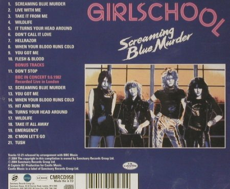 Girlschool: Screaming Blue Murder,21 Tr,FS-New, Sanctuary(), UK, 2004 - CD - 92250 - 10,00 Euro