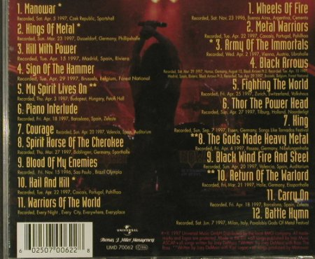 Manowar: Hell On Wheels Live, Universal(UMD 70062), EU, 1997 - 2CD - 95681 - 11,50 Euro