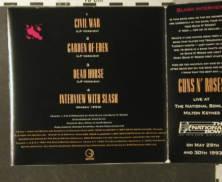"Guns N'Roses: The ""Civil War"" EP, Strictly Lim Ed, Geffen(GFSTD 43), UK, 1993 - CD5inch - 95886 - 10,00 Euro"